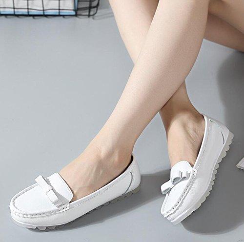 de del señoras Mujeres Zapatos de Blanco Zapatos cómodos Perezosos Arco Zapatos Ocasionales Cuero Verano Forro 39 Color de Zapatos tamaño Las 2018 Guisantes Ocasionales Swfq65f