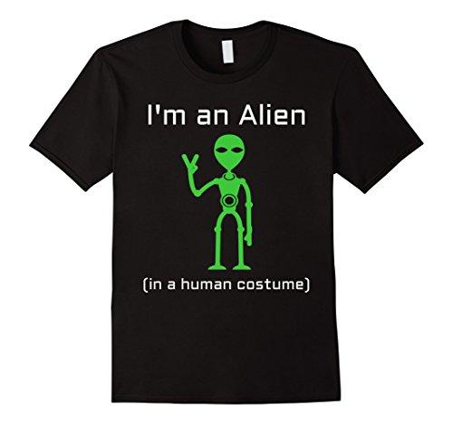 [Mens Extra Terrestrial Alien in a Human Costume T-Shirt Large Black] (Extra Terrestrial Costume)