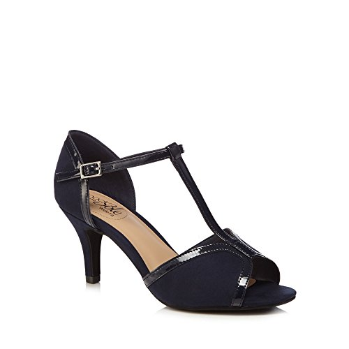 Good for the Sole Navy Suedette 'Gio' High Stiletto Heel Wide Fit T-Bar Sandals 1RjIxrz1p