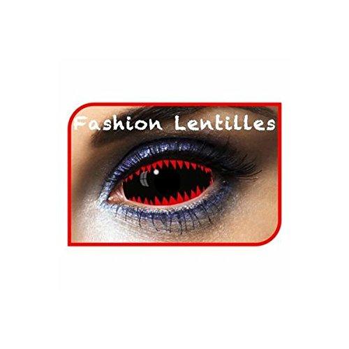 Fashion lenti – le50077 – Lenti sclera 077 denti di squalo rosso nero durata 1 anno