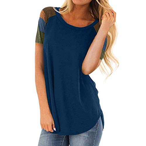 ◣〓Spring color〓◢ Women's Casual Short Sleeve Round Neck Loose Tunic T Shirt Blouse Tops with Pocket - Dc Sweatshirt Zip Full