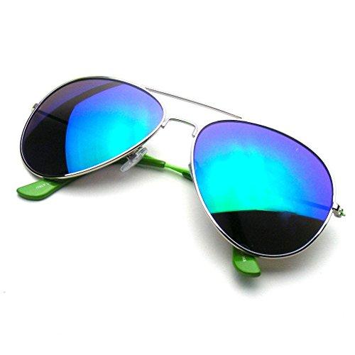 Aviator Sunglasses Mirror Lens New Men Women Fashion Frame Retro Pilot (Colorful Arm | Green, 0)
