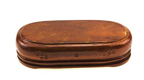 (Oriental Furniture Chinese Antique Solid Camphor Wood Display Stand Wooden Base Stands Elliptic Oval Oblong Shape Pedestal (S 16cm(top length) 7.5cm(top) 4.5cm H.))