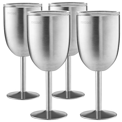 FineDine Premium Grade 18/8 Stainless Steel Wine Glasses 12 Oz. Double-Walled Insulated Unbreakable Goblets Stemmed Wine Glass BPA-Free Leak Resistant Lid for Red White Wine, Brushed Metal (Set of 4)