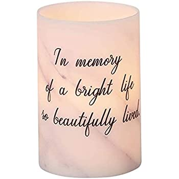 Beautifully Lived Memorial White Marble Tone 4 x 6 Wax LED Flameless Candle