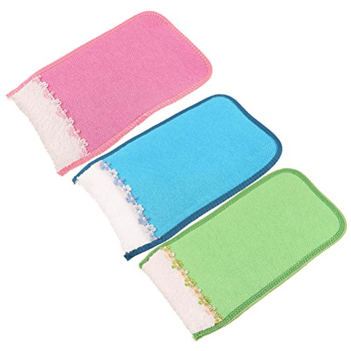 (Frcolor 3Pcs Bath Exfoliating Mitt Scrubber Rayon Glove Washcloths No Irritation for Bathing Sauna (Random Color))