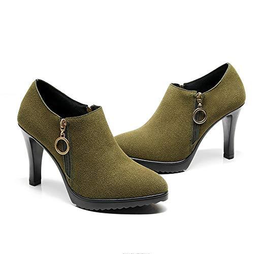 Et Stiletto Mode Automne 46 37 Vert Femmes Mesdames Bouche Stitch Zl Sauvage Hauts Hiver Profonde Chaussures Talons wWqXI81z