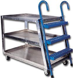 Vestil SPA2-2848 Aluminum Stock Picker with Step Ladder and 2'' Lipped Shelves, 2 Shelves, 660 lbs Load Capacity, 35-5/8'' Height, 48'' Length x 28'' Width