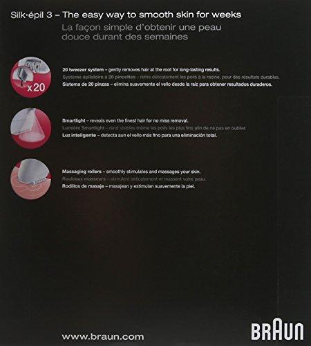 Braun Silk-épil 3 Women's Epilator, Electric Hair Removal, White/Purple