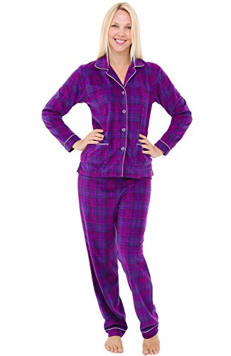 Alexander Del Rossa Womens Fleece Pajamas, Long Button Down Pj Set, 2X Purple and Pink Plaid (A0324P742X)