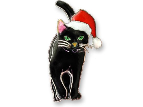 Holiday Cat Silver and Enamel Pin by Zarah