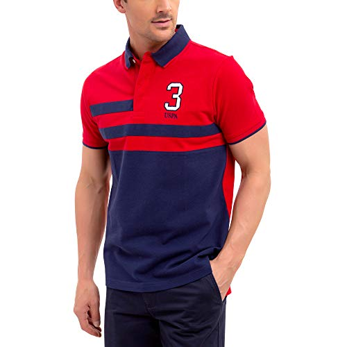 U.S. Polo Assn. Mens Color Block Stripe Pique Polo Shirt with 3 Patch - Engine Red, Small