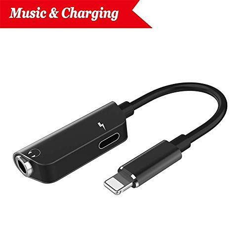 Headphone Jack Adapter for iPhone Adapter Earphone Audio Splitter and Charge Connector for iPhone X/7/7 Plus /8/8 Plus Support to Listen to Music and Charge Support iOS 12 System