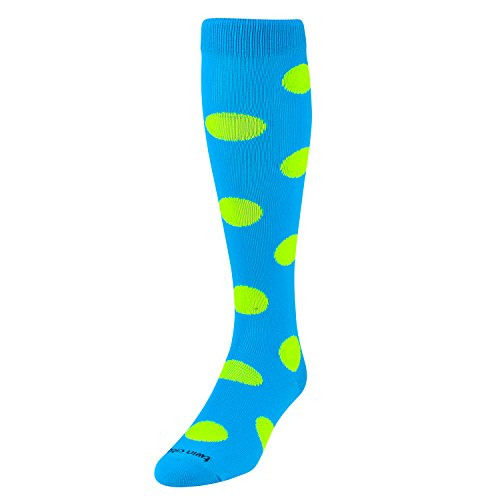TCK Krazisox Polka Dot Over The Calf Socks, Electric Blue/Neon Yellow, Medium