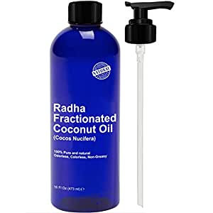 Radha Beauty Fractionated Coconut Oil - 100% Pure & Natural Carrier and Base Oil for Aromatherapy, Hair and Skin - Free Pump, 16 fl oz.