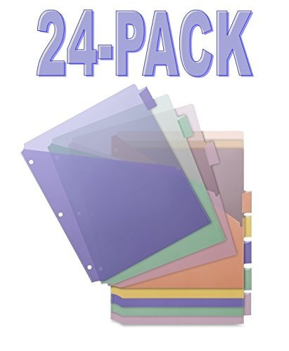 Business Source 32373 Poly Index Dividers, Double Pocket, 8-Tab, 8-1/2 in.x11 in., Multi - 24 packs of 8 sets ()