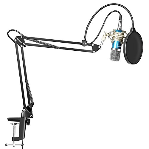 Neewer Professional Studio Broadcasting Recording Condenser Microphone & NW-35 Adjustable Recording Microphone Suspension Scissor Arm Stand with Shock Mount and Mounting Clamp Kit, Blue