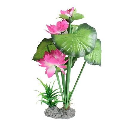Amazon.com : eDealMax Peces de plástico tanque emulational Lotus Decoración, DE 12 pulgadas, Color de rosa : Pet Supplies