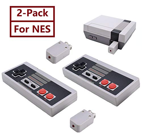2-Pack NES Controller Wireless.Wireless Game Controller for NES Classic Edition.No-Wired Gamepad Joypad with Receiver Adapter for NES Classic Gaming System -
