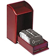 ROL1734243 - Rolodex Wood Tones Photo Frame Business Card File Holds 300 2 1/4 x 4 Cards
