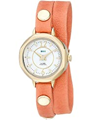 La Mer Collections Womens LMDELMARDW1504 Cantaloupe Gold Del Mar Stainless Steel Watch with Orange Wrap-Around...