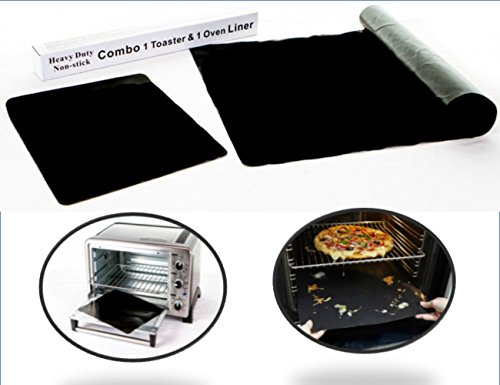 Kiss Dangerous Caked on Dribbles Goodbye! Amazing Oven Liner Bundle - 100% Non-Stick Sturdy Oven Drip Mat, 16 x 23 Spill Mat AND Best in Toaster Oven Accessories - Teflon Toaster Oven Liner