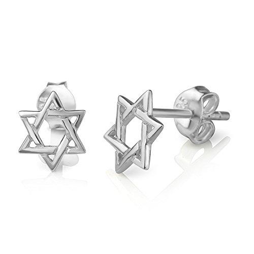 (925 Sterling Silver Tiny Small Open Hexagram Geometric Star Symbol Unisex Post Stud Earrings 8 mm)