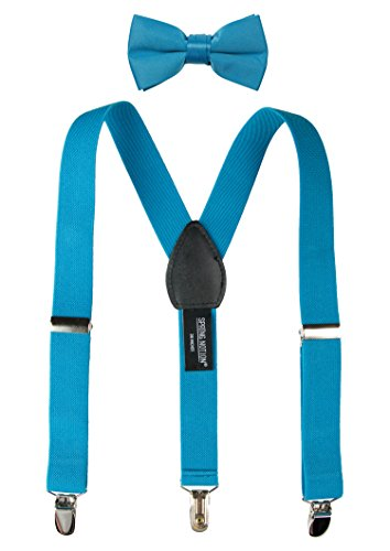 Spring Notion Boys' Suspenders and Solid Color Bowtie Set Turquoise Medium -