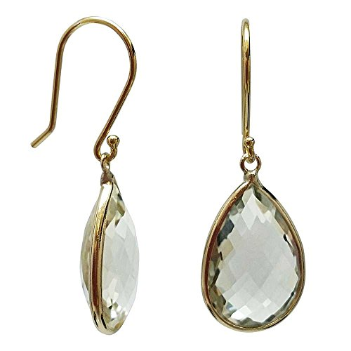 Gem Stone King 14K Yellow Gold Green Amethyst Pear Shape 10x15mm Earrings
