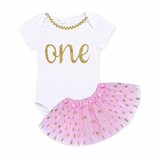 Dot Glitter Dress (YiZYiF Baby Girls Princess Glitter Letter ONE/Mermaid Birthday Fancy Party Romper Dresses #3 Pink Polka Dots 2pcs 12-18 Months)
