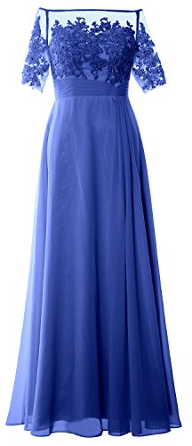 MACloth Women Off Shoulder Mother of Bride Dress Short Sleeve Lace Formal Gown Azul