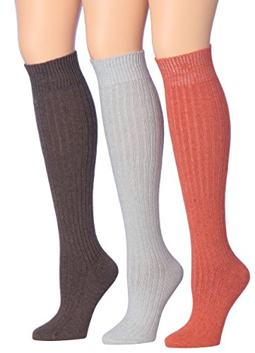 Tipi Toe Women's 3-Pairs Ribbed Cable Knee High Wool-Blend Boot Socks, (sock size 9-11) Fits shoe size 6-9, WK02-B