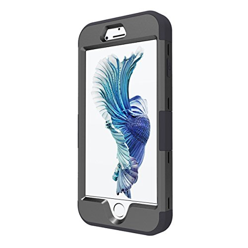 iPhone 7 Hülle, Moonmini® Schwarz Handyhülle 3 in 1 Heavy Duty Hybrid Armor Schutzhülle Tasche Cover Case für iPhone 7