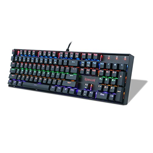 Gaming Keyboard Mechanical Keyboard K551 Vara by Redragon 104 Key RGB Rainbow LED Backlit Mechanical Computer Illuminated Keyboard with Blue Switches for PC Gaming Compact ABS-Metal Design