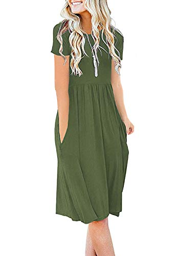 DB MOON Womens Summer Casual Empire Waist Dresses with Pockets (Army Green,S)