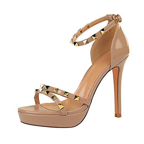 Drew Toby Women High Heels Waterproof Platform Patent Leather Rivet Ankle Strap -