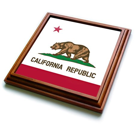 3dRose trv_158295_1 Flag of California Republic Us American State United States of America The Bear Flag White Red Trivet with Ceramic Tile, 8 by 8