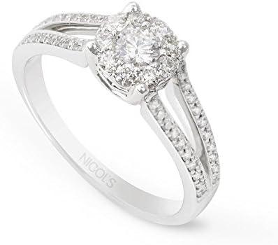 NICOLS 14710800011 - Anillo WEDDING BAND NICOL´S, con piedra central redonda en boquilla roseton. En oro blanco y diamante talla brillante de peso total 0.68ct.