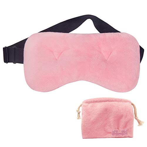 Sivio Cooling Weighted Eye Mask, Cold Compress for Puffiness, Quick-Drying and Ultra-Soft Reversible Fabrics, Glass Bead Cold Eye Pillow with a Travel Pouch, Universal Size (Pink)