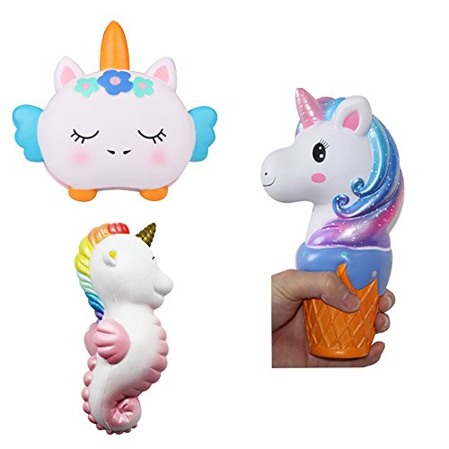 - Jumbo Slow Rising Licensed Squishies Toy Animal Unicorn Bread Loaf Seahorse 3 pcs Squishy Scented Squeeze Toys