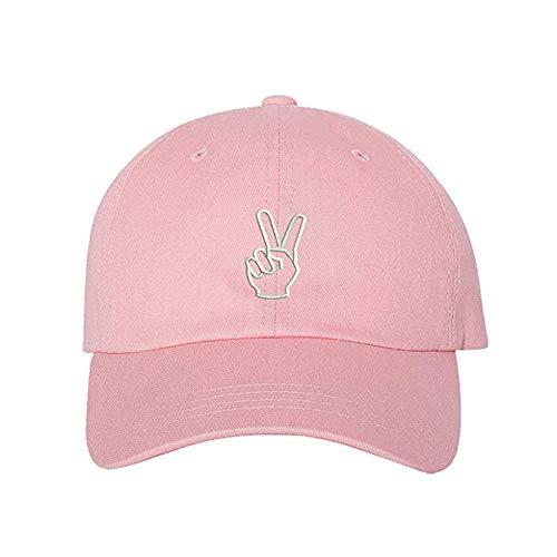 Peace Hands Baseball Cap - Peace Sign Hat - Unisex Hats (Light Pink)