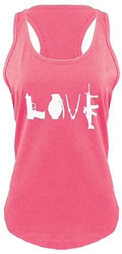 Ladies Racerback Tank Gun Love T Shirt Pistol Rifle 2nd Amendment American Pride Hot Pink with White Print ()