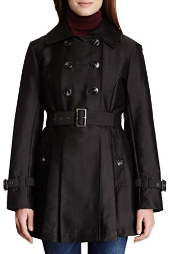 Kenneth Cole New York Women's Cotton Sateen Trench Coat with Pleated Skirt Coat, Black, - Trench Sateen