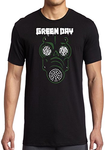 Green Day Gas Mask (Emotion Clothing Men's Green Day Gas Mask Licensed Official T-Shirt 42-44