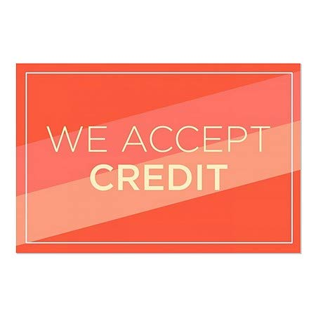 5-Pack We Accept Credit CGSignLab Modern Diagonal Window Cling 27x18