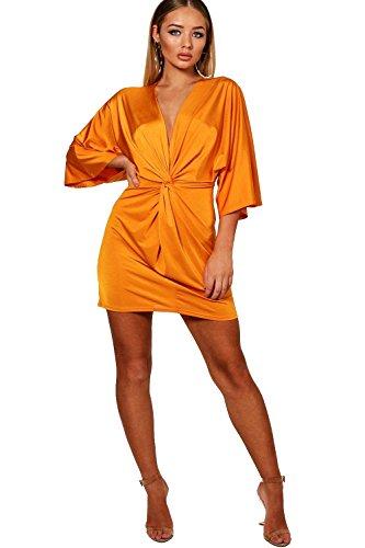 Damen Mandarine Kya tailliertes Etuikleid mit Knoten vorne Mandarine tncchY