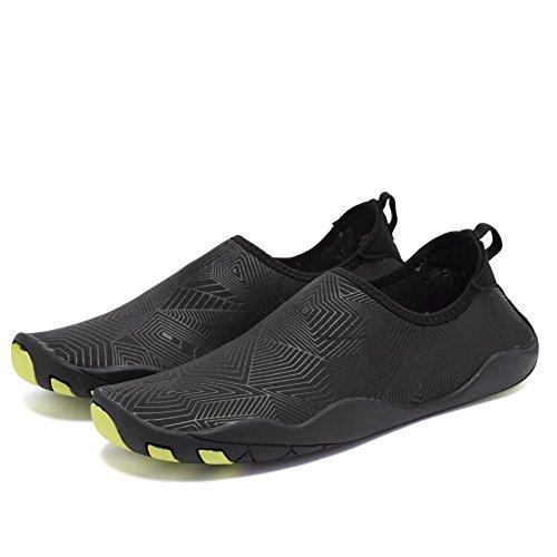 CIOR Männer Frauen Barfuß Quick-Dry Wasser Sport Aqua Schuhe mit 14 Drainage Löcher für Schwimmen, Walking, Yoga, See, Strand, Garten, Park, Fahren Z.black