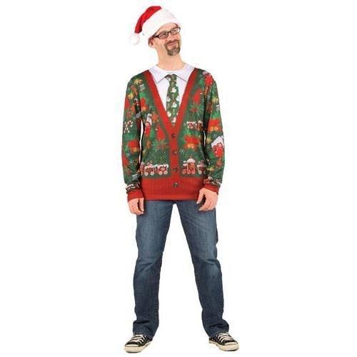 Ugly Christmas Faux Cardigan Tee Costume]()