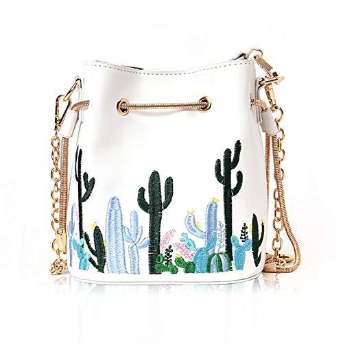 SUKUTU Refreshing Cactus Embroidery Satchel Purse,Womens Drawstring Bucket Purse Floral Chain Handbags