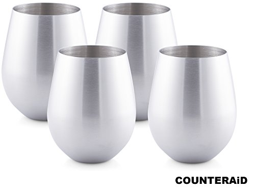 Counter Aid Stemless Stainless Steel Wine Glasses, Set of 4 Unbreakable, Shatterproof Picnic, Camping, BBQ Cocktail Cups - 18oz (6 Space Cold Food Pan)